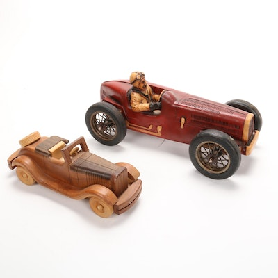 Art Deco Style Carved Wooden Cars