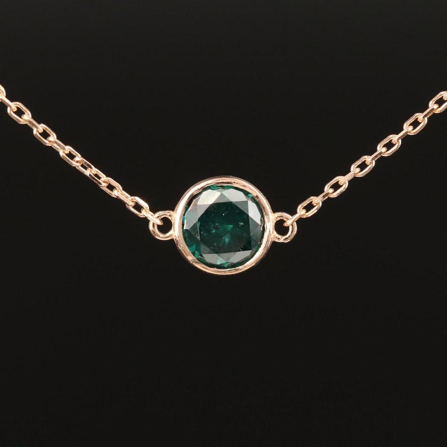 18K Bezel Set 0.51 CT Diamond Necklace