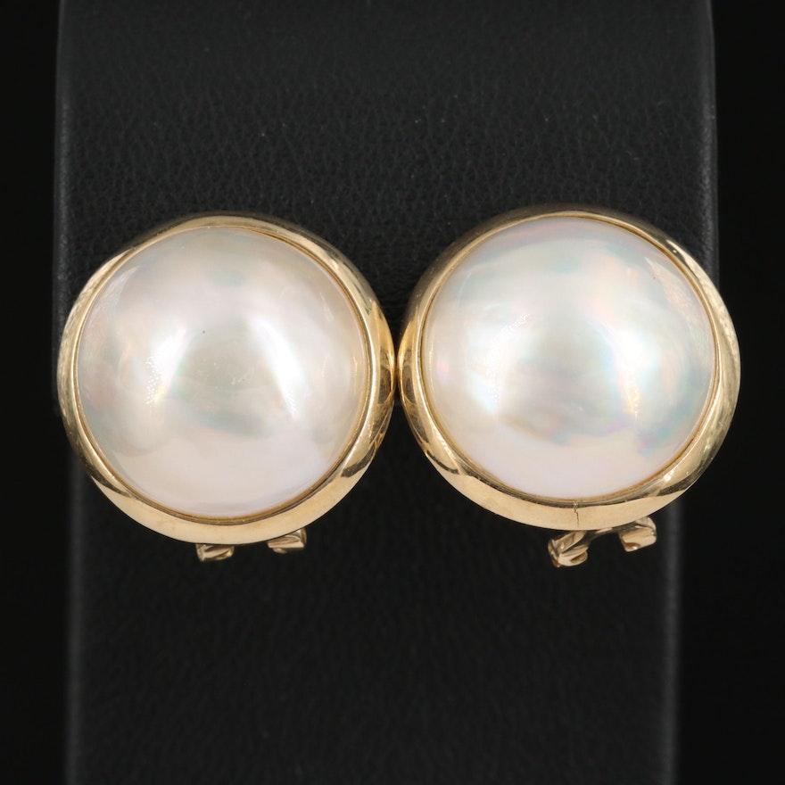 14K Mabé Pearl Button Earrings