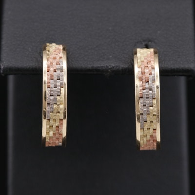14K Tri-Color Gold Half Hoop Earrings with Basket Weave Design