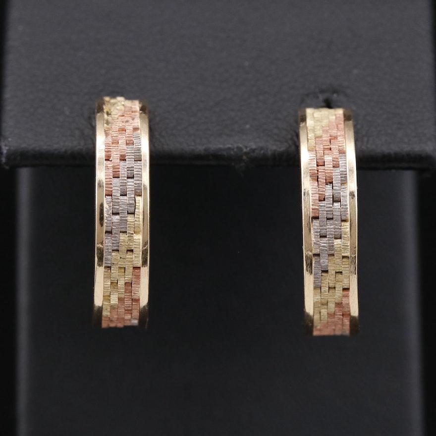 14K Tri-Color Gold Half Hoop Earrings with Basket Weave Design