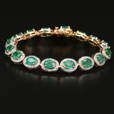 Sterling Silver Emerald and Diamond Link Bracelet