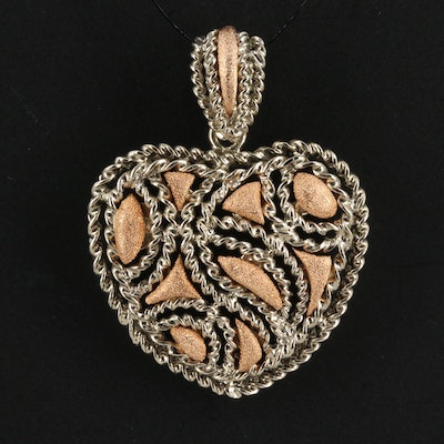 18K Textured and Rope Twisted Openwork Heart Pendant