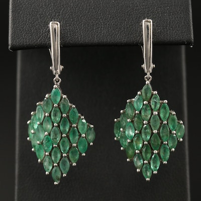 Sterling Silver Curved Kite Emerald Dangle Earrings