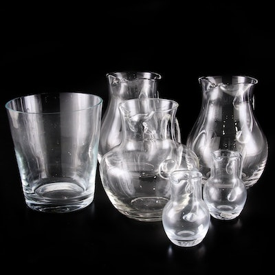 Blown Glass Pitchers and Ice Bucket