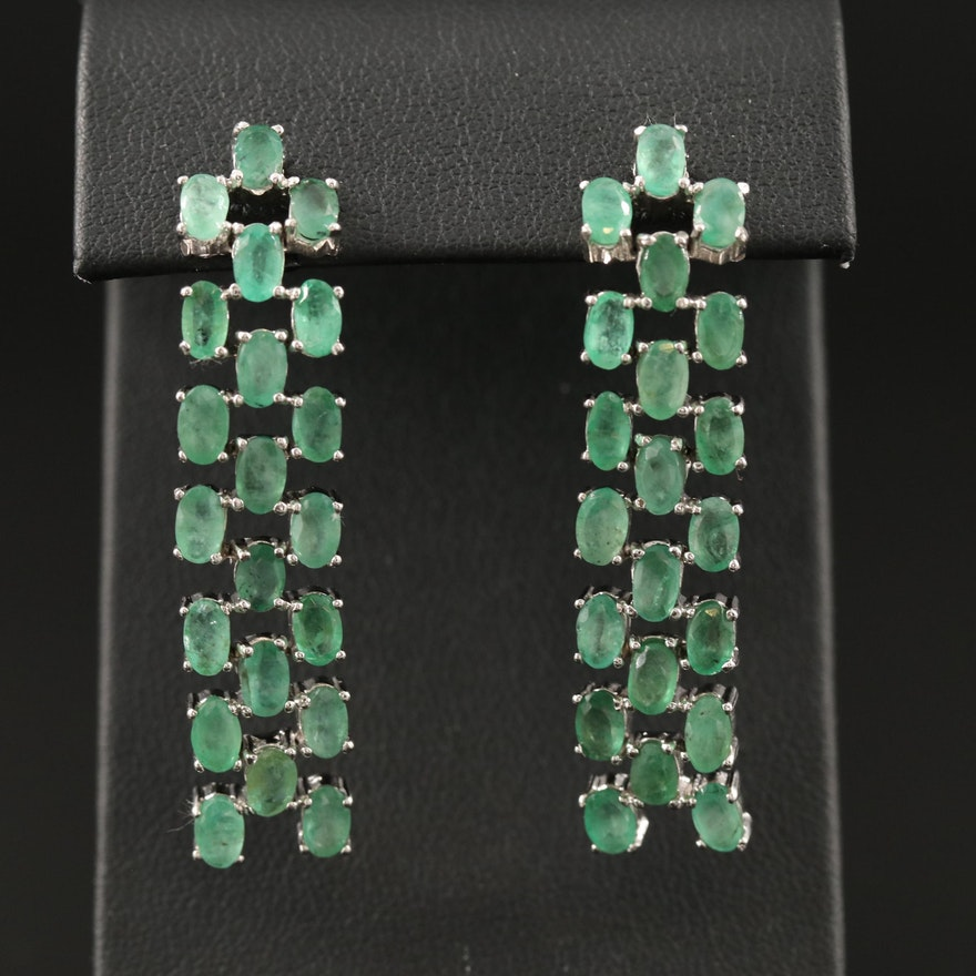 Sterling Silver Three Row Emerald Earrings