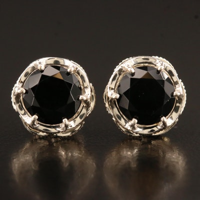 Tacori Sterling Silver Black Onyx Button Earrings with 18K Accents