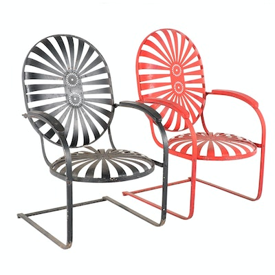Painted Metal Rocker Patio Chairs