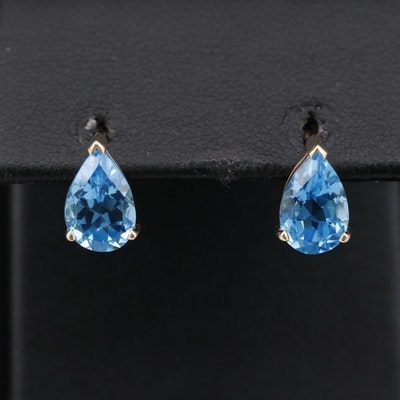 14K Blue Topaz Teardrop  Stud Earrings