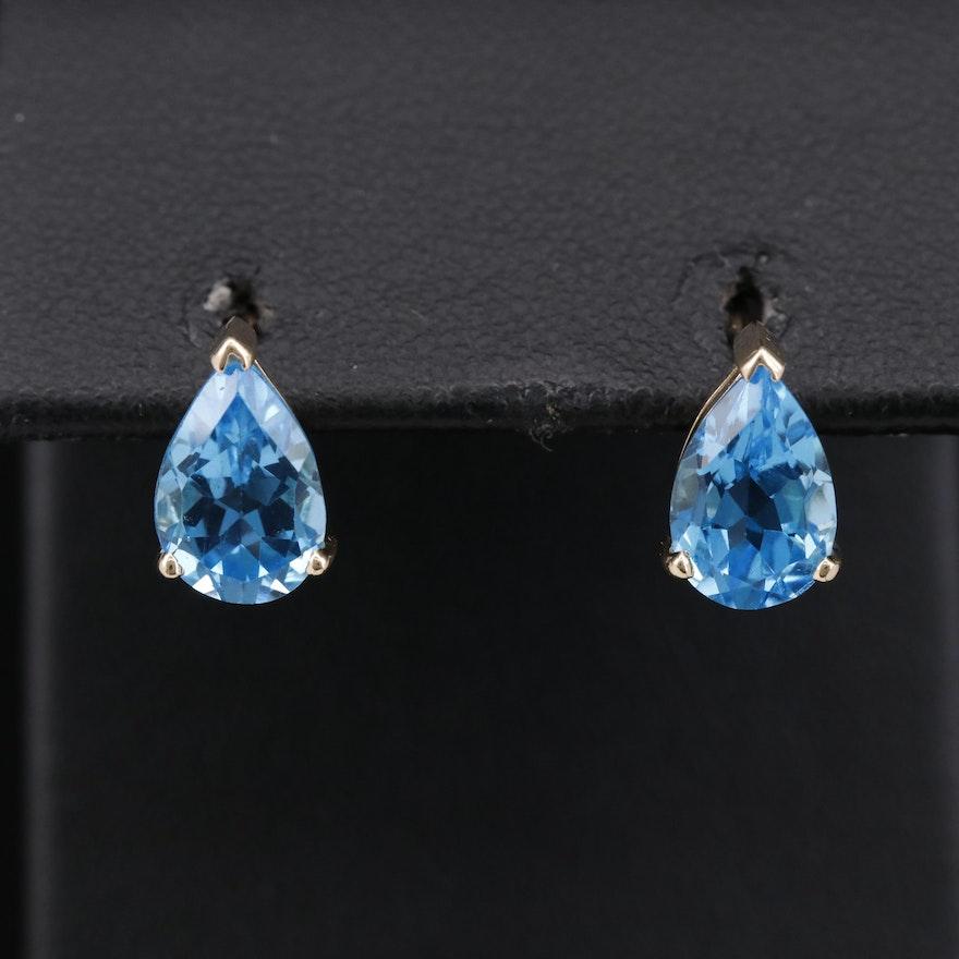 14K Blue Topaz Teardrop  Stud Earrings