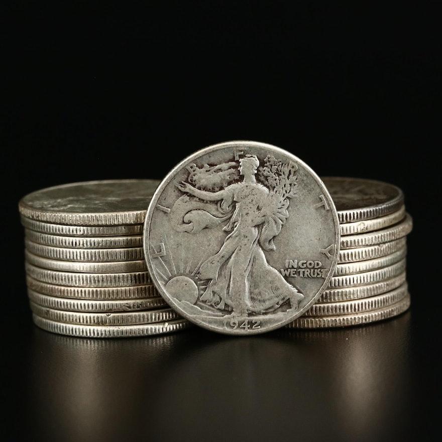 Twenty Walking Liberty Silver Half Dollars, 1941 to 1943