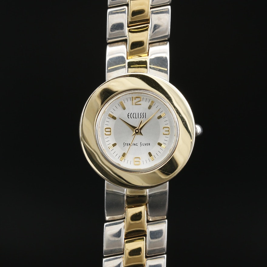 Ecclissi Two Tone Sterling Silver Bezels and Twist Band Quartz Wristwatch