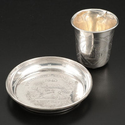 Imperial Russian 84 Zolotniki Silver Cup and Engraved Gorham Sterling Dish