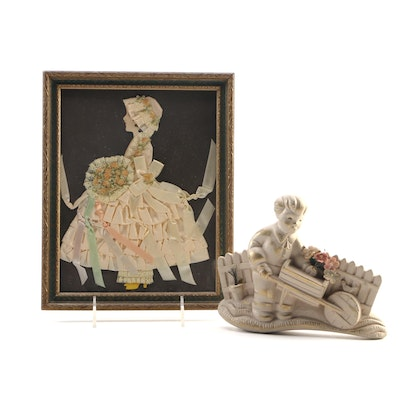 Girl in Satin Dress Wall Decor with Boy and Wagon Wall Plaque
