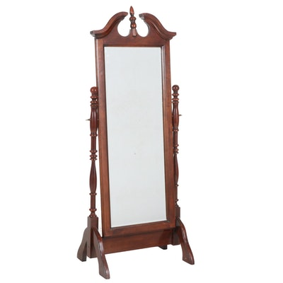 Queen Anne Style Cherry-Stained Cheval Mirror