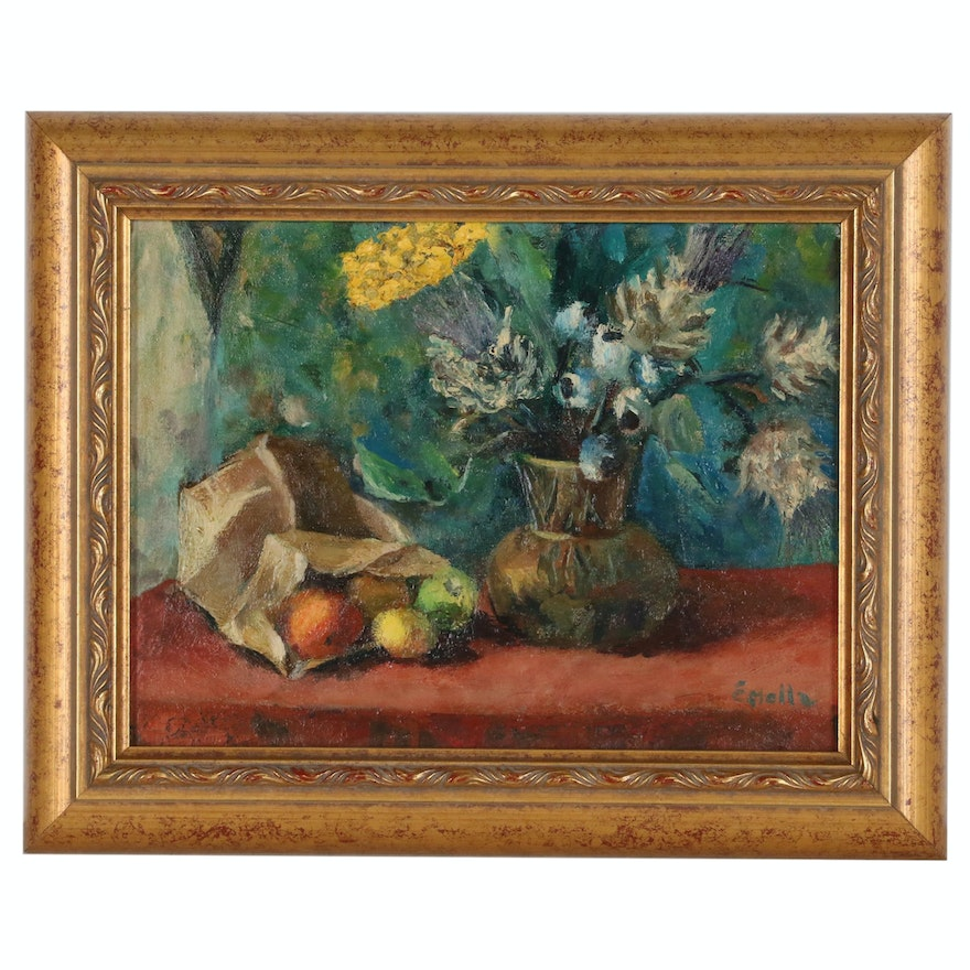 Still Life Oil Painting of Fruits and Flowers, 20th Century