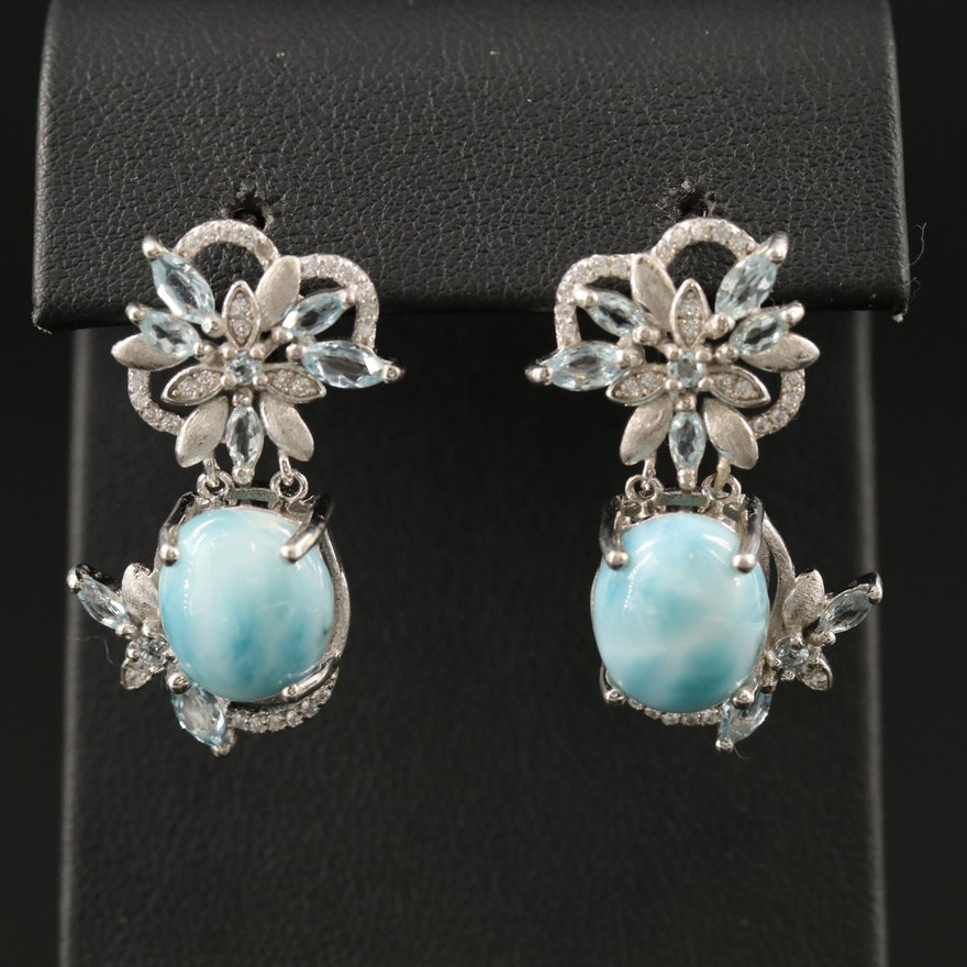 Sterling Dangle Earrings with Beryl, Topaz and Cubic Zirconia