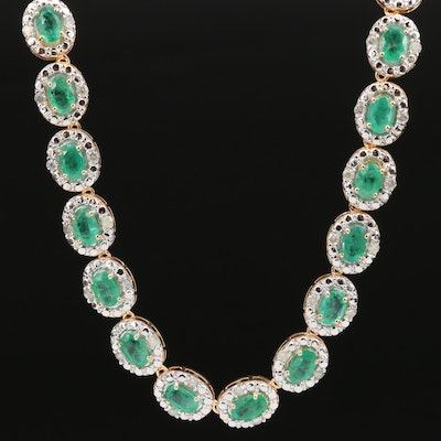 Sterling Silver Emerald and 2.30 CTW Diamond Link Necklace