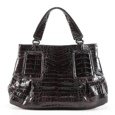 Nancy Gonzalez Tote in Dark Brown Crocodile Skin Leather