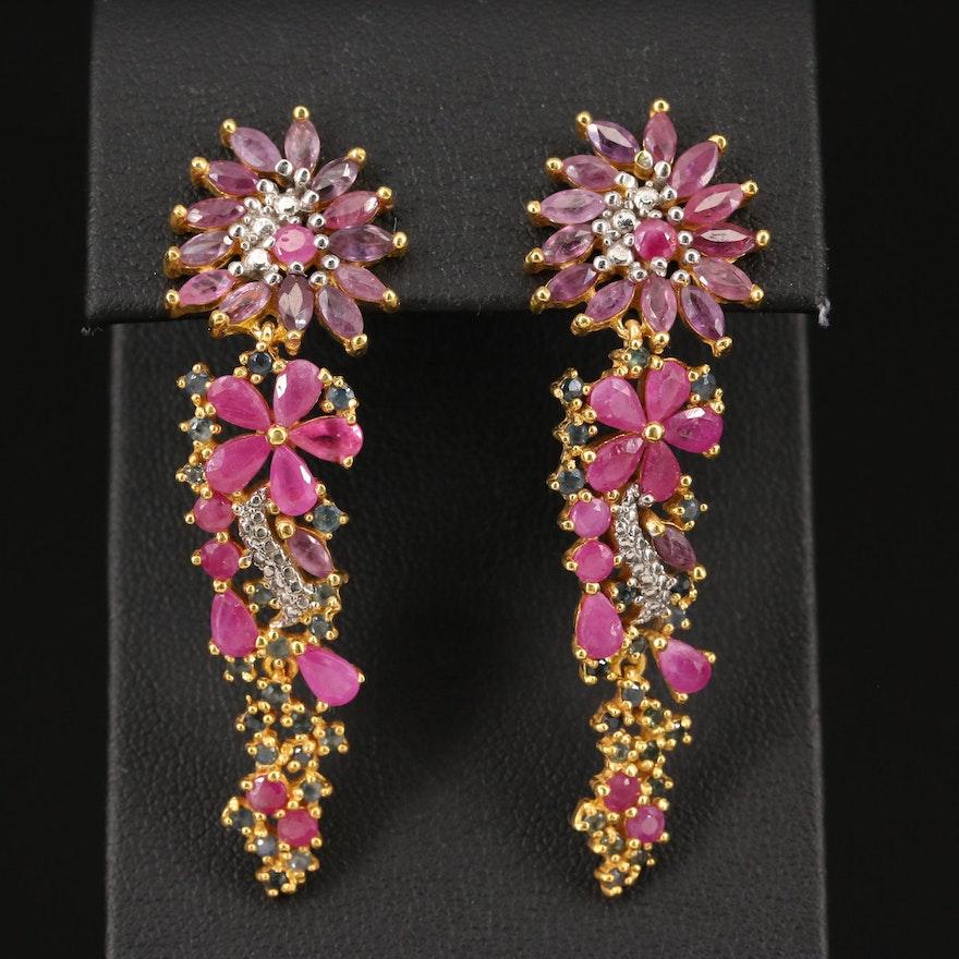 Sterling Silver Floral Dangle Earrings