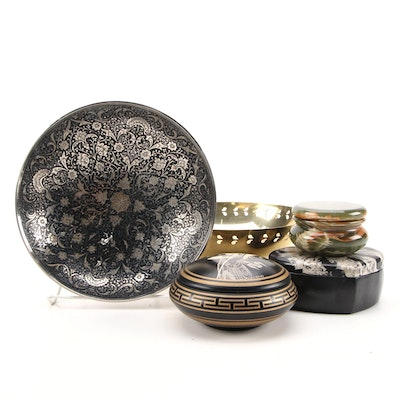 Indian Brass Table Accessories Including Bowls and Boxes