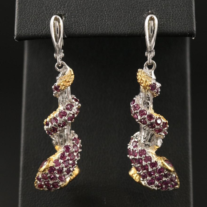 Sterling Garnet Coiled Snake Dangle Earrings