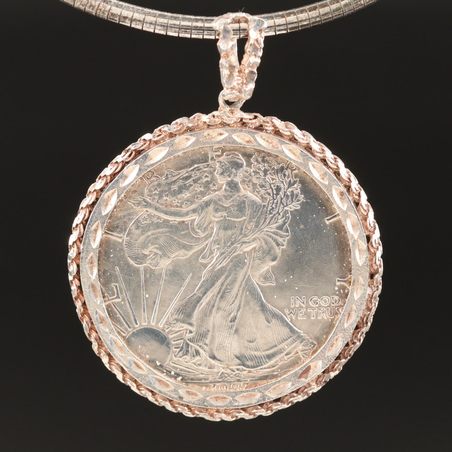 Sterling 1987 American Silver Eagle Bullion Coin Pendant Necklace