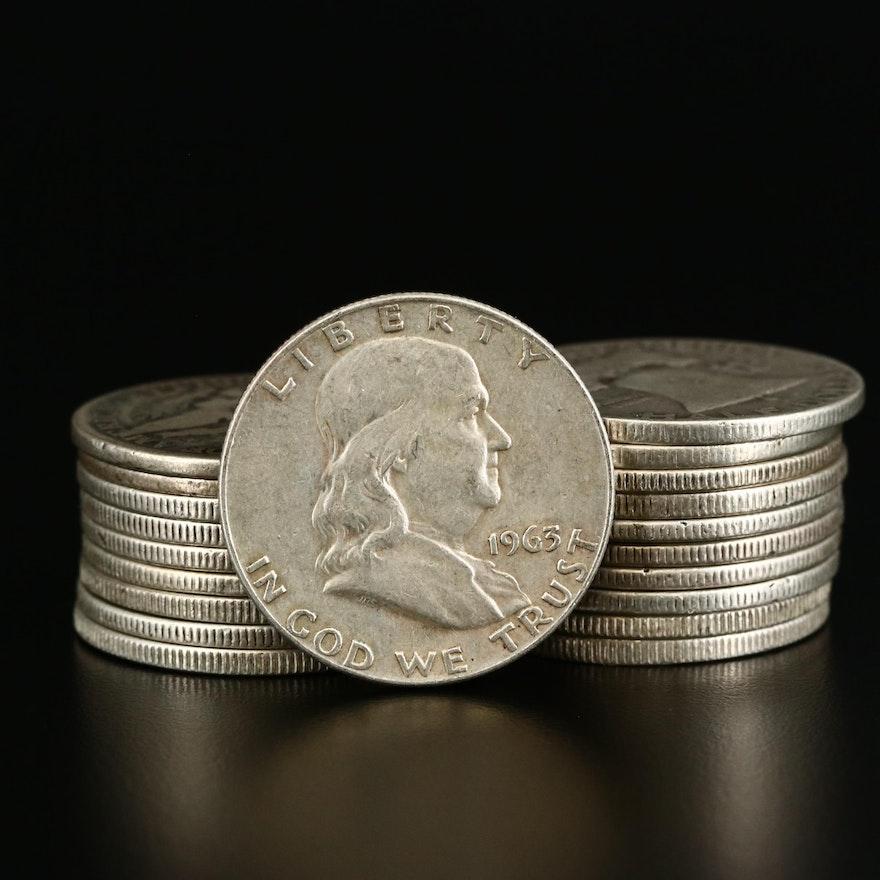 Twenty U.S. Silver Half Dollars, 1898 to 1963