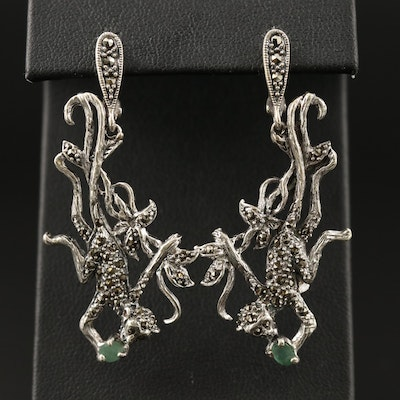 Sterling Beryl and Marcasite Monkey Motif Dangle Earrings