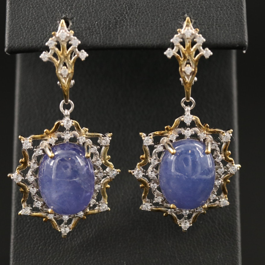 Sterling Silver Tanzanite and Cubic Zirconia Dangle Earrings