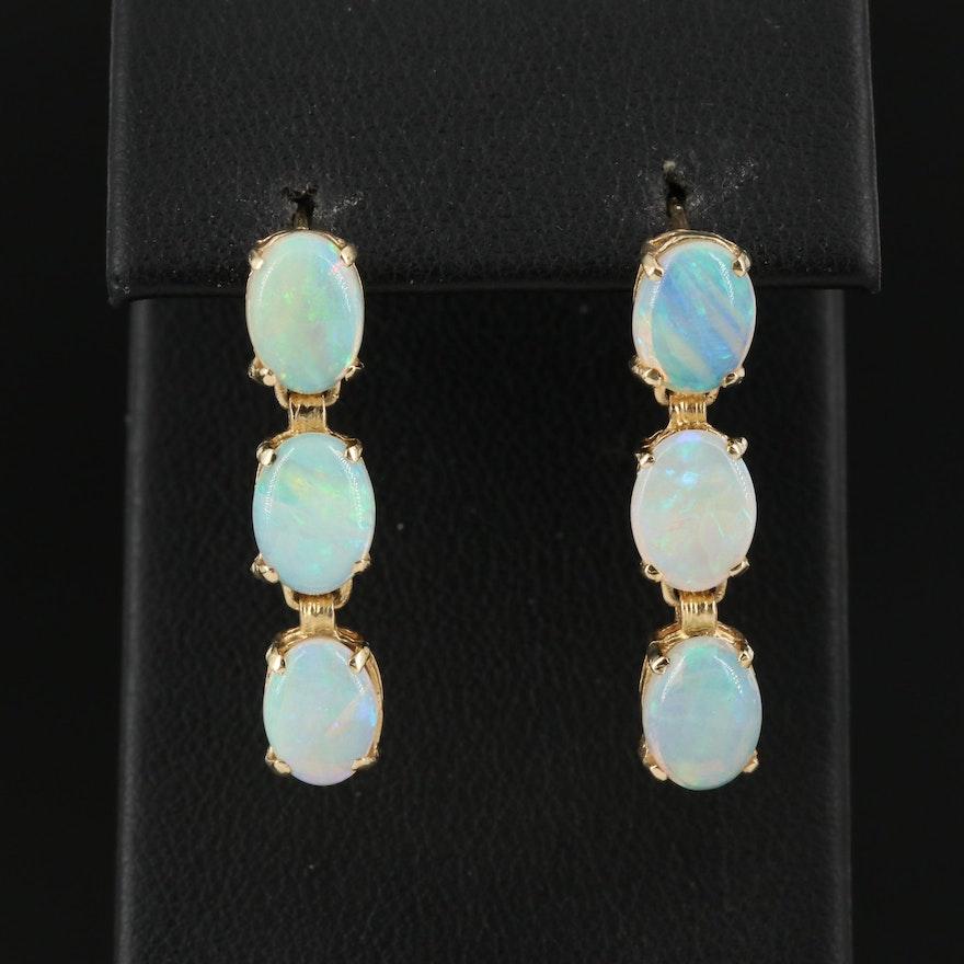 14K Opal Cabochon Drop Earrings