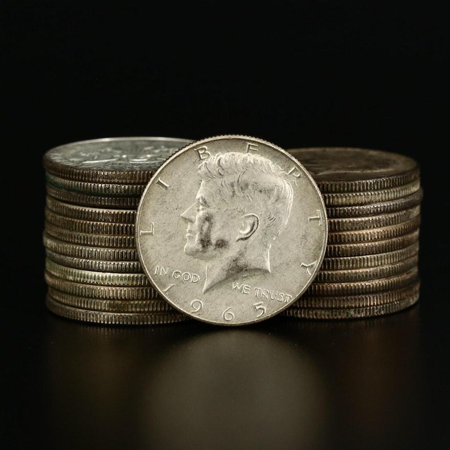 Twenty-Four Kennedy Silver Clad Half Dollars, 1965 to 1969