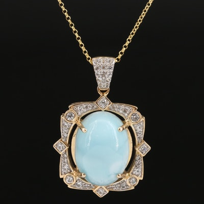 Sterling Silver Larimar and Sapphire Pendant Necklace