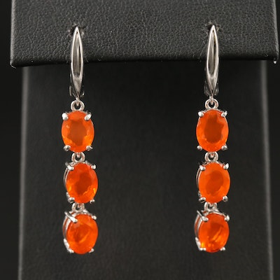 Sterling Fire Opal Dangle Earrings