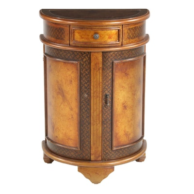 Pulaski Furniture Mottled Wood Finish Demilune Cabinet