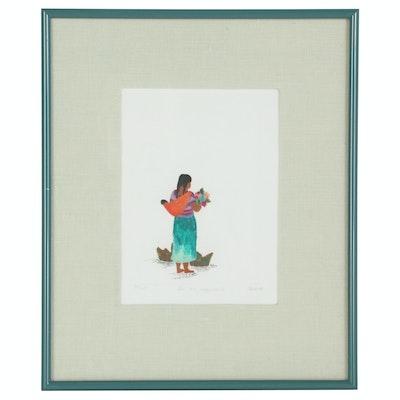 "Block Hand-Colored Embossed Woodblock Print ""En Una Esquina II"", 1988"