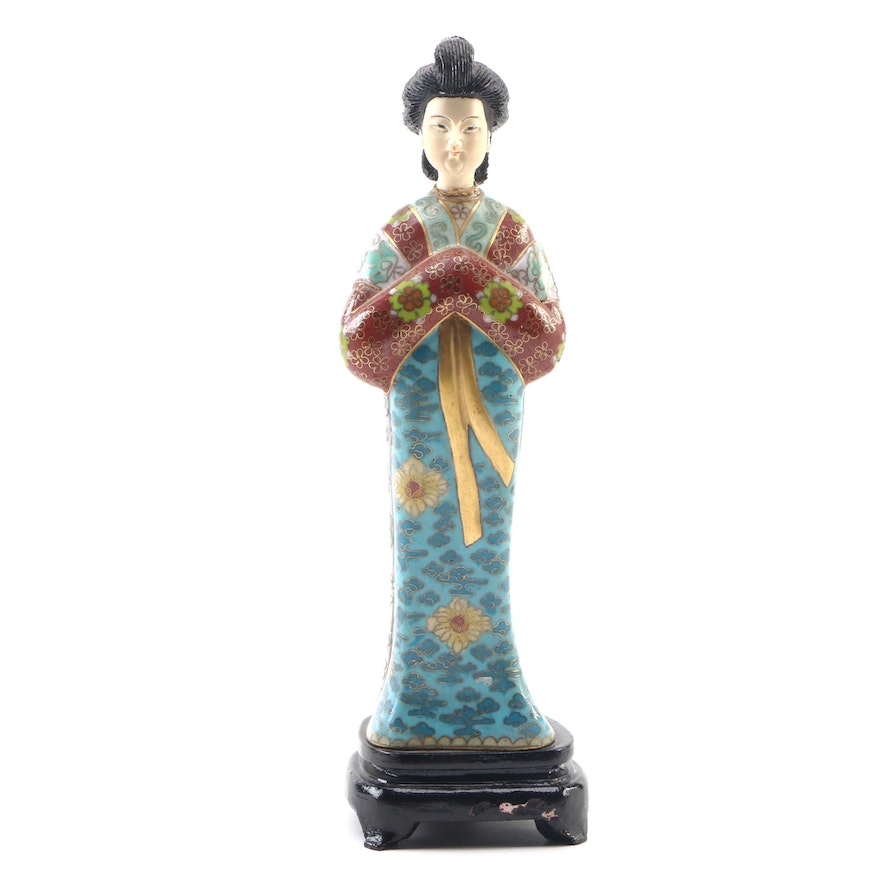 Chinese Cloisonne and Carved Resin Female Figure, 21st Century