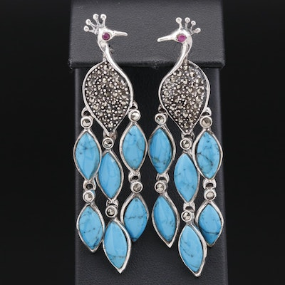 Sterling Silver Turquoise, Ruby and Marcasite Peacock Earrings