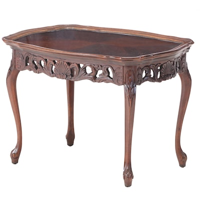 Louis XV Style Tray Top Walnut Side Table