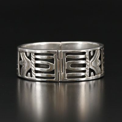Taxco Sterling Silver Hinged Bangle