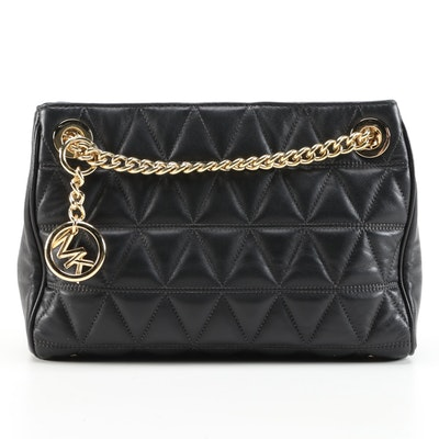 Michael Kors Scarlett Medium Messenger Bag in Black Triangle Quilted Leather
