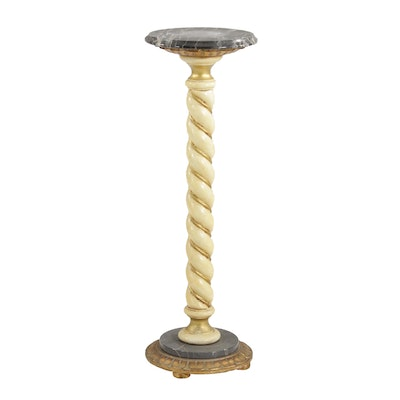 Painted Wood and Marble Pedestal Stand