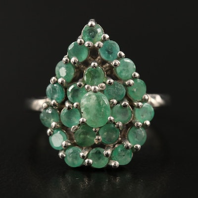 Sterling Silver Emerald Cluster Drop Ring