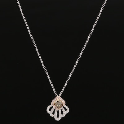 14K Diamond Shell Motif Pendant Necklace