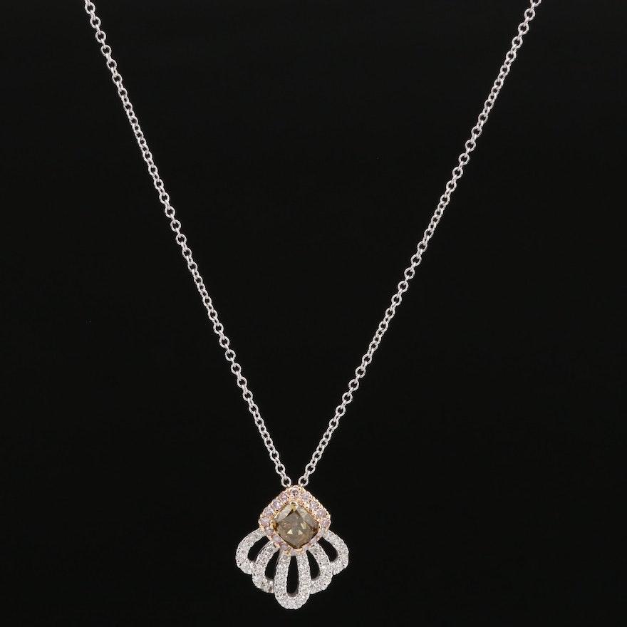 14K Diamond Shell Motif Pendant Necklace