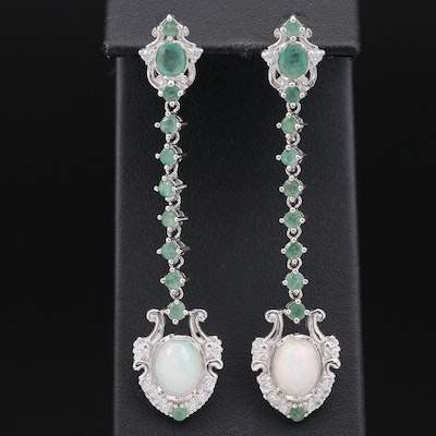Sterling Silver Opal, Emerald and Cubic Zirconia Shield Drop Earrings