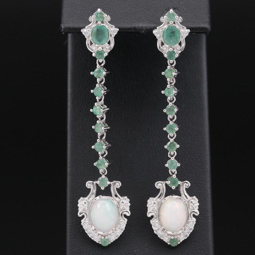 Sterling Silver Opal, Emerald and Cubic Zirconia Shield Drop Earrings