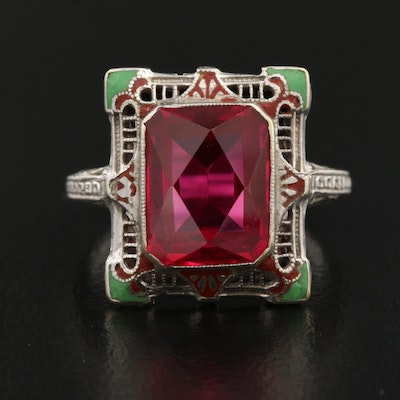 Edwardian 14K Ruby Ring with Enamel and Filigree