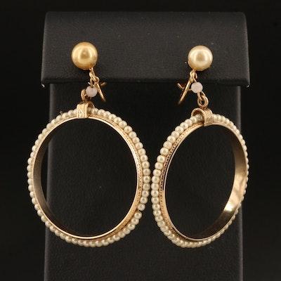 Vintage 10K Imitation Pearl Hoop Earrings with French Screw Backs