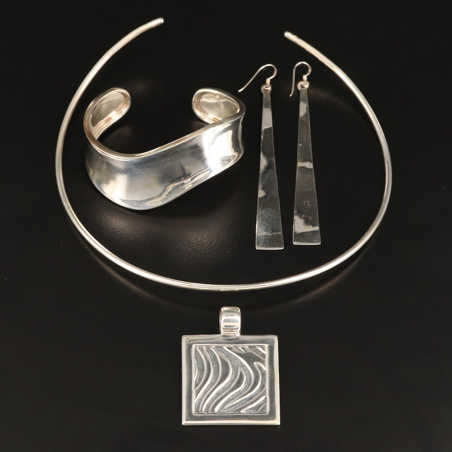 Sterling Torc Necklace, Pendant, Undulating Cuff and Dangle Earrings